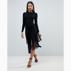 {ASOS} Black Long Sleeved Backless Fringe Dress